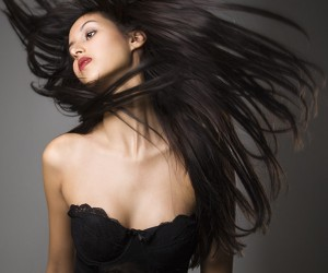 Woman flinging long hair